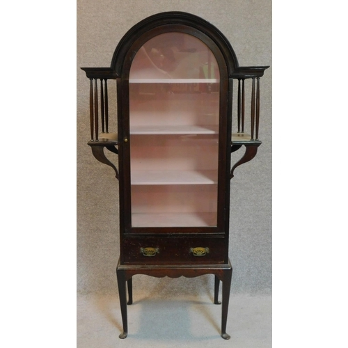 28 - A late 19th century mahogany domed top Art Nouveau style display cabinet on cabriole supports. 138x7...