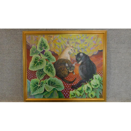 225 - A gilt framed oil on canvas, three cats, signed and inscribed Madeleine Pearson verso. 93x109cm...