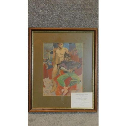 232 - A framed and glazed watercolour, two young men, signed Cornelius McCarthy 84 top left. 59x48cm...