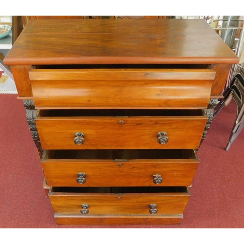 35 - A late Victorian walnut chest of four long drawers. 111x104x54cm...
