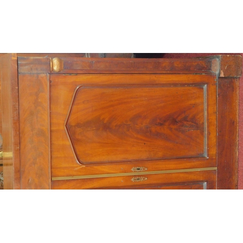 86 - An early 19th century mahogany two door chiffonier fitted frieze drawer. 91x92x37cm