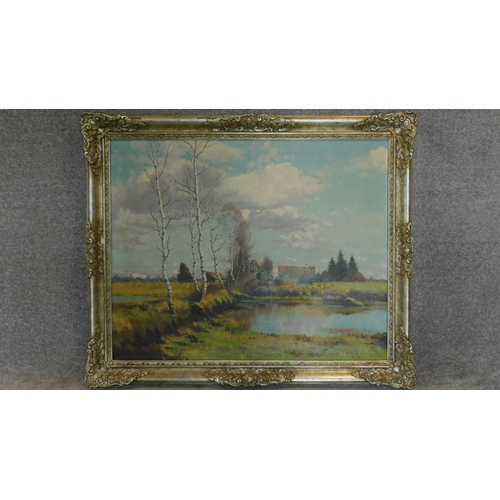 224 - A large framed oil on canvas, silver birch in a rural setting, signed C. Schaette. 97x117cm...