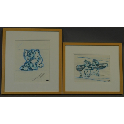 278 - Two framed and glazed pencil drawings by Mike Royer, Pluto and Chipmunks. 44x49cm...