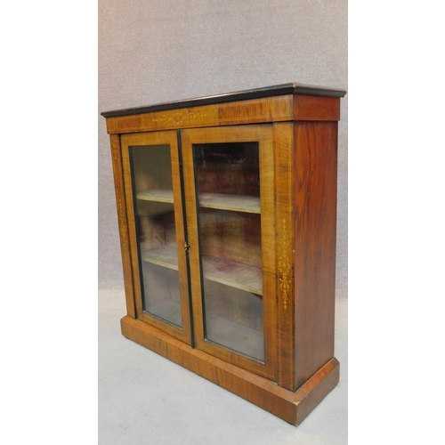2 - A Victorian two door walnut pier cabinet with satinwood Arabesque inlay. H.99 W.91 D.30cm...