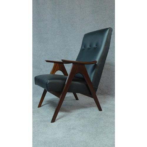 72 - A pair of 1960's vintage Louis van Teeffelen teak framed armchairs restored and recovered in black l...