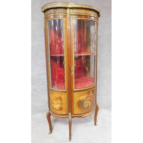 77 - A late 19th century mahogany Vernis Martin display cabinet with marble top, ormolu mounts and hand p...