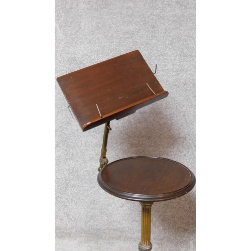 83 - A 19th century mahogany occasional table with fluted brass column on coalbrookdale style quadruped b...