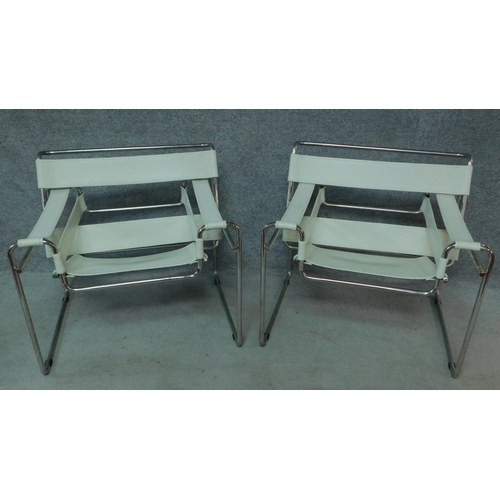 84 - A pair of Vintage Wassily style leather chairs on chrome frame. H.72 W.79 D.66cm...