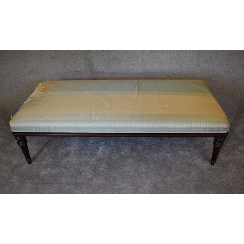 38 - A mahogany framed day bed by George Smith upholstered in a silk fabric. (some wear). H.47 x 168 x 75...