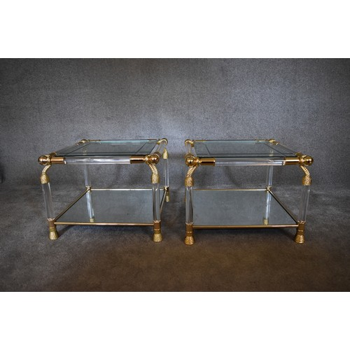 67 - A pair of Empire style bedside tables with gilt metal rope motif, mirrored base and glass tops. H.60...