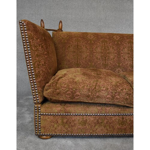 68 - A large Tiplady Knowle sofa by George Smith upholstered in green and red fabric. H....