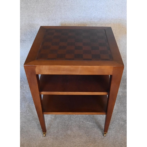 69 - An inlaid Chess table fitted with two undertiers united by square tapering supports. H.69 x 62cm...