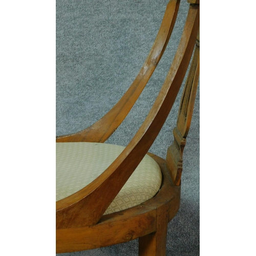 2 - A set of four 19th century Continental walnut and satinwood inlaid chairs, lyre shaped backs on crea...