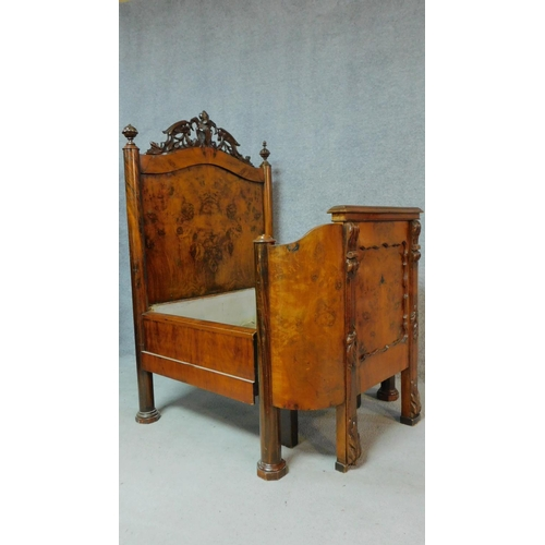 3 - A 19th century French burr walnut nursing bed with floral carvings to the top and to the legs, raise...