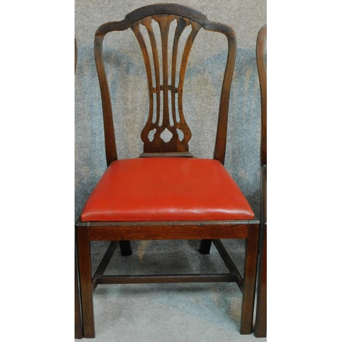 8 - A set of six Georgian mahogany Hepplewhite style dining chairs. H.98cm...