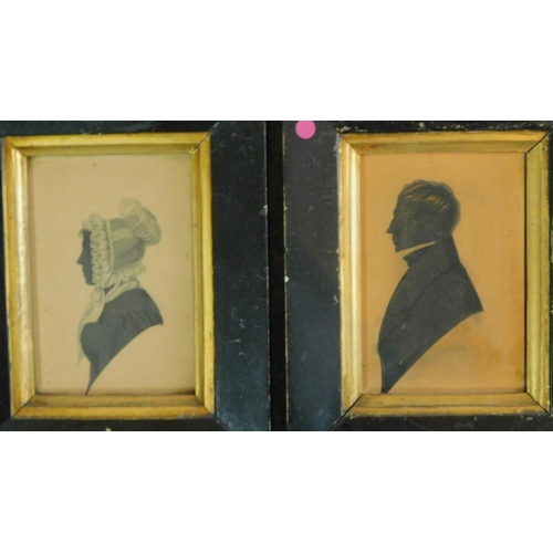30 - Four 19th century ebonized wood framed shadow side profile pictures with gilded detailing and brass ...