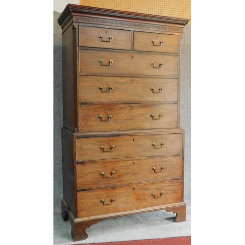 16 - A Georgian mahogany two part chest on chest of two short over six long drawers fitted with original ...