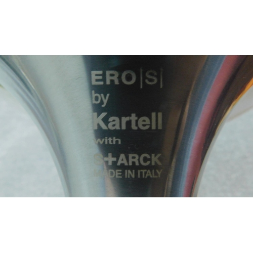 42 - A set of four vintage white moulded chairs on chrome frames, by Ero (S) Kartell. H.83cm...