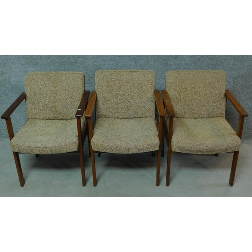 43 - Three vintage teak armchairs with beige upholstery, by Antocks Lairn. H.80cm...