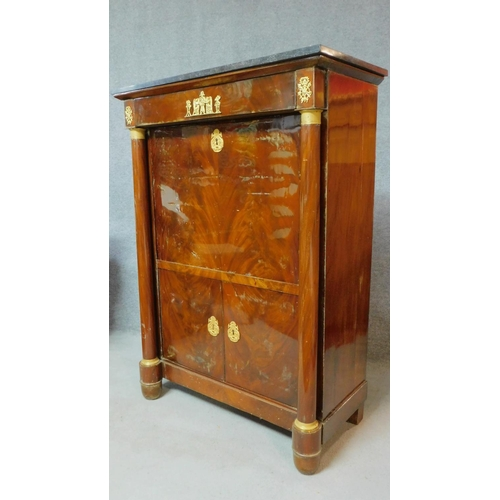 44 - A 19th century mahogany Empire style secretaire a abbatant with ormolu mounts and fitted interior ov...