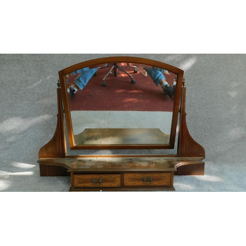 17 - A Victorian mahogany and inlaid bevelled dressing mirror with two drawers. (from a dressing table) H...