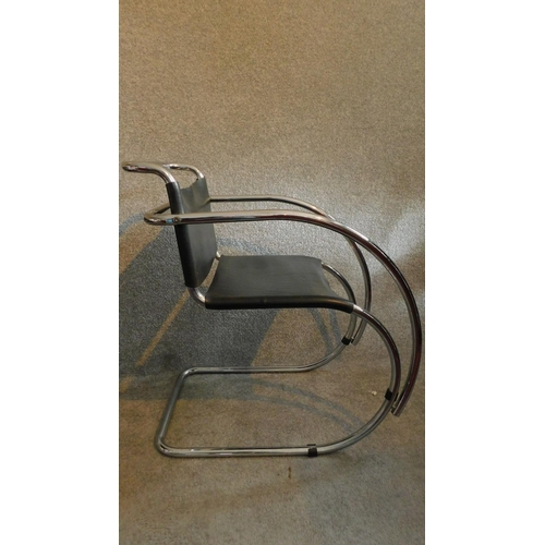 49 - A pair of vintage Mies Van Der Rohe style MR 20 black leather lounge chairs on chrome frames. H.78cm...