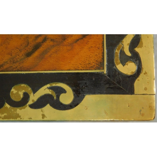 24 - A Victorian walnut writing box with ebony and brass decoration and gilded tooled red leather interio...