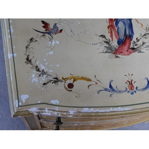 28 - A pair of Italian hand painted bedside cabinets raised on tapering square supports. H.68 W.49 D.39cm...