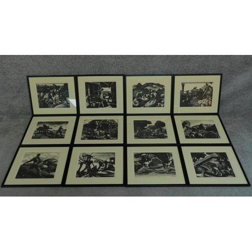 1 - A series of twelve framed woodblock prints taken from 'The Farmers Year'. All depicting various farm...