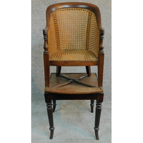 5 - A Georgian mahogany child's bergère armchair on base with reeded swept supports. H.91cm...