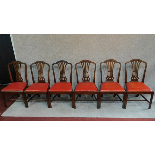 7 - A set of six Georgian mahogany Hepplewhite style dining chairs. H.98cm...