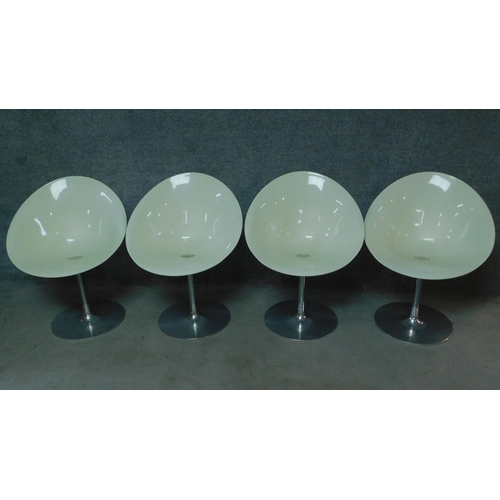 40 - A set of four vintage white moulded chairs on chrome frames, by Ero (S) Kartell. H.83cm...