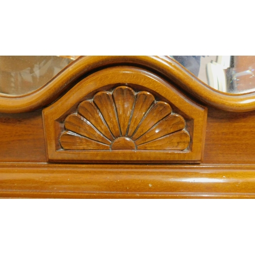 45 - A Continental walnut and line inlaid pier mirror and console table fitted frieze drawer on cabriole ...