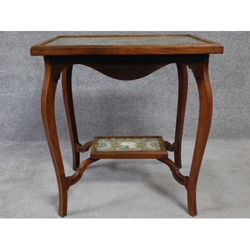 15 - A late Victorian oak glass topped occasional table with inset collage made entirely from cigar label...