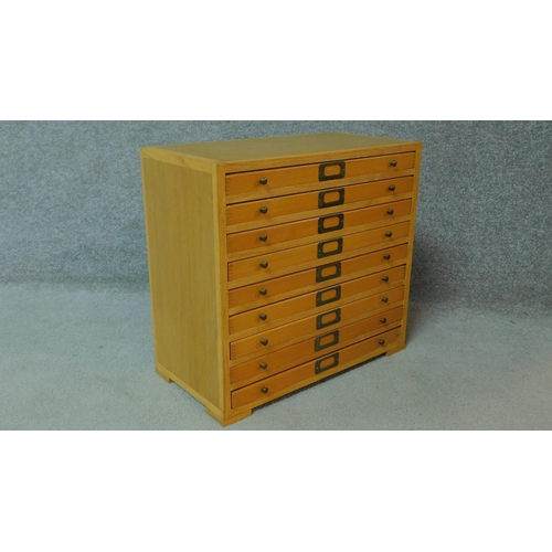 52 - A mid 20th century oak specimen or filing cabinet H.48 W.51 D.26cm...