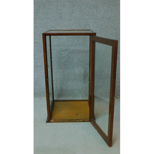 53 - WITHDRAWN - A mid 20th century mahogany glass display cabinet. H.76 W.40 D.40cm...
