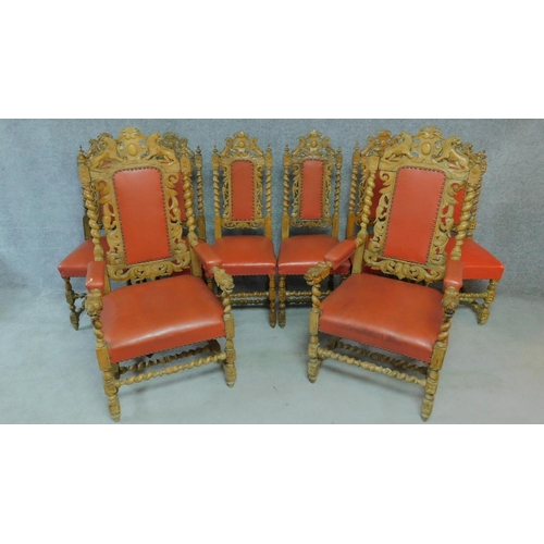 21 - A set of eight 19th century carved oak Carolean style dining chairs in blush faux leather upholstery...