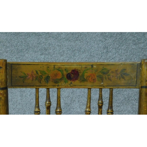 32 - A pair of 19th century faux bamboo cane seated chairs with hand painted floral design and raised on ...