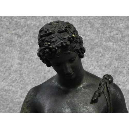 5 - A late 19th century Italian cast bronze of Narcissus after the antique Fonderia Sommer on a decorate...