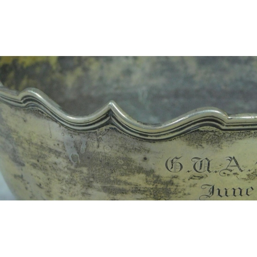 10 - An antique silver pedestal bowl with waved edged, makers mark HE Ltd for Hawksworth, Eyre & Co Ltd, ...
