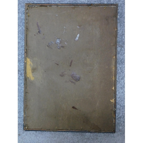 387 - A framed watercolour of a man kneeling holding a plate, indistinctly signed. H.53 W.38cm...