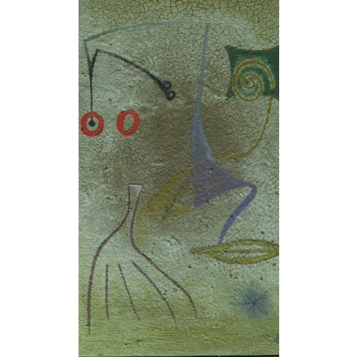 432 - A framed abstract oil on canvas, by Desmond Morris. 65x42cm...
