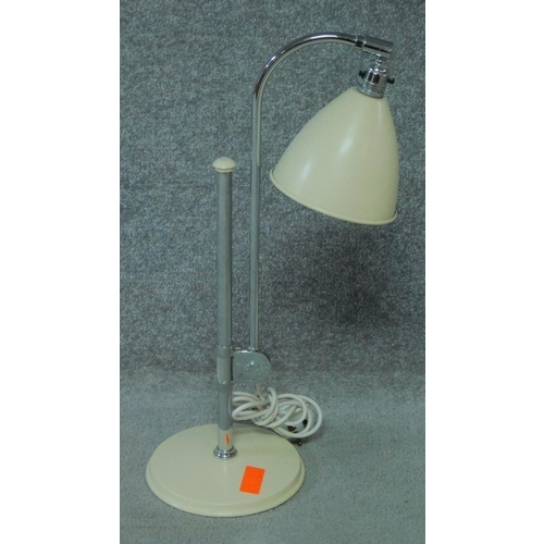 222 - Three vintage cream metal and chrome adjustable anglepoise desk lights. H.122cm...