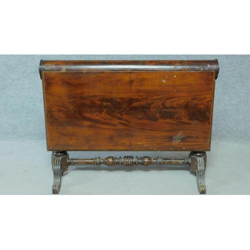 39 - A 19th century Continental flame mahogany drop flap tea table. H.70 W.92 D.91cm...