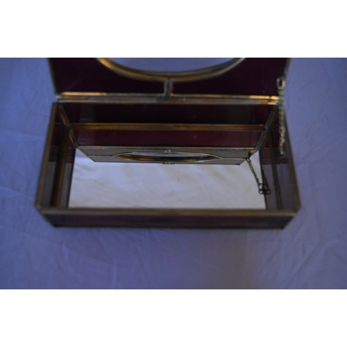 93 - A vintage purple and clear stained glass panel and brass jewellery box. Mirrored panel to the bottom...