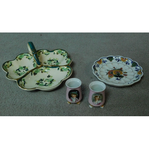 13 - A collection of ceramics. Including a pair of pink transferware salts with a portrait of a man and a...