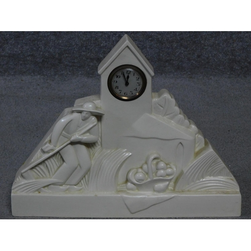 40 - A French Art Deco white ceramic mantle clock signed G. Chevalier to the back for George Chavalier wh...