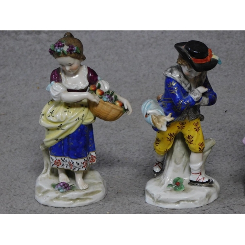 23 - Four antique hand painted Chelsea Sampson style figures, with gold anchor mark to back. Accompanied ...