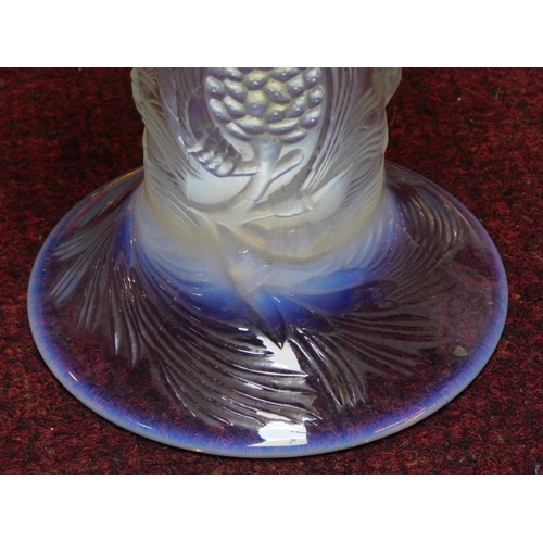 89 - A French opalescent moulded glass pine cone vase. H.24cm