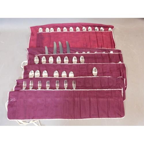 8 - Five rolls of silver plated cutlery. Belvedere design by CJ Vander Ltd. Includes 18 cake forks, 18 g...